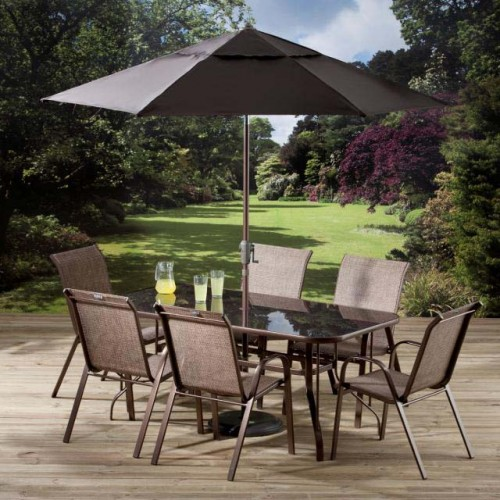 Rectangular Dining Set With 6 Stacking Chairs