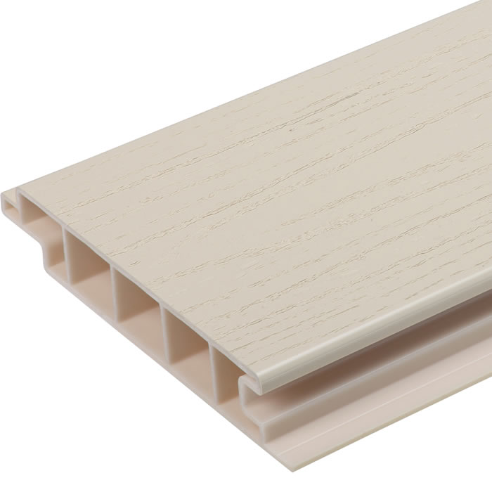 Upvc eco deck board cream world of decking for Tongue and groove roofing boards