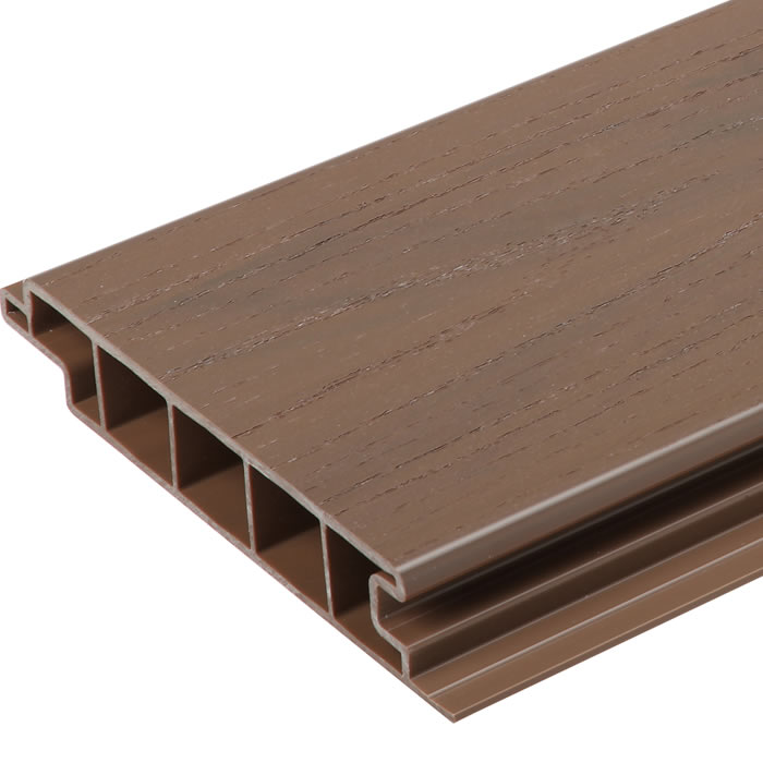 Upvc premium deck board brown world of decking for Plastic decking boards